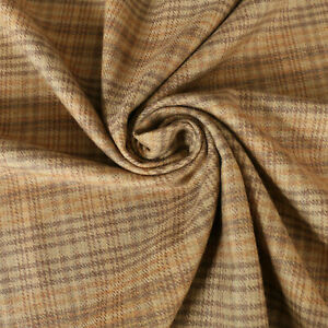 100% Wool Suiting fabric - Twill weave - Check - Caramel brown - Dress fabric