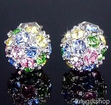 18K WHITE GOLD PLATED COLOR COLORFUL 3D BALL STUD EARRINGS USE SWAROVSKI CRYSTAL