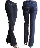 Womem Quality Low Rise Boot Cut Jeans Denim Dark Blue Size 6 8 9 10 11 12 13 NEW
