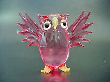 Glass OWL Open Winged BIRD Hand Painted Tinted Red Glass Ornament Glass Animal