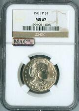 1981-P SBA $1 DOLLAR NGC MAC MS67 PQ FINEST REGISTRY VERY RARE SPOTLESS  *