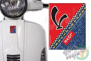 Front Badge Overlay V on Red Love Denim 3D Decals sticker Vespa Gts Gt ET PX LX