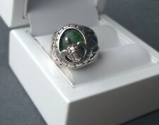STERLING SILVER TURTLE FEATURE RING GREEN ABALONE SHELL P  925 SOLID