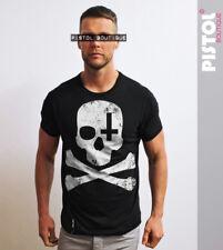 Pistol Boutique mens Black crew neck SKULL CROSSBONE CROSS Tshirt SALE Small