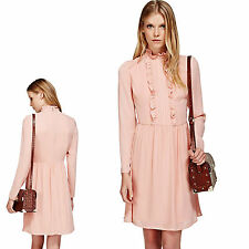 New M&S Silky FRILL COLLARED Babydoll DRESS ~ Size 16 ~ PINK