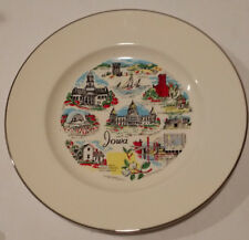 Vintage Decorative Collectible State Plate Of Iowa 10 Inch Gold Trim