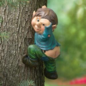 Motion Sensor Whistling Elf On A Tree Hugger Hanger Garden Statue