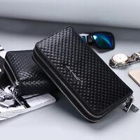 100% Genuine Leather Men's Business Clutch Long Wallet Card Holder Phone Case