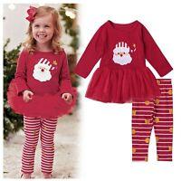 Toddler Kids Baby Girls Xmas Outfits Clothes T-shirt Dress+Pants Leggings Set