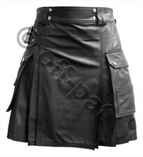 Mans REAL LEATHER KILT Utility Workwear  Black or Brown Most Sizes