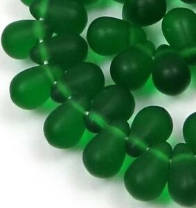 50 Czech Frosted Sea Glass Teardrop Beads -Matte - Green Emerald 6x4mm