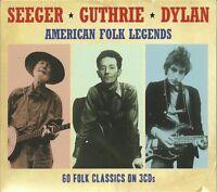 SEEGER * GUTHRIE * DYLAN AMERICAN FOLK LEGENDS - 3 CD BOX SET - 60 FOLK CLASSICS