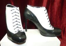 Nine West clásico de cuero para mujer blanco negro Botas Zapatos De Tacones Altos UK 7 EU 40