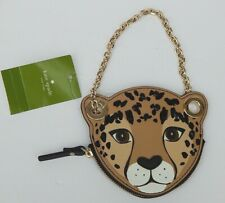 KATE SPADE RUN WILD LEOPARD COIN PURSE WALLET LEATHER JEWELED AUTHENTIC NEW