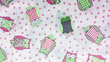 """Owl Tree Owl Toss baby pink 100% cotton 43"""" fabric by yard 36"""""""
