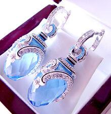 SUPERB RUSSIAN BLUE TOPAZ STERLING SILVER 925  EARRINGS w/ ENAMEL