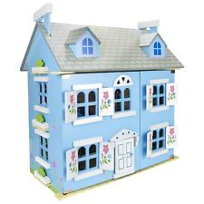 LEOMARK BLUE WOODEN DOLL HOUSE WITH FURNITURE + DOLLS KIDS