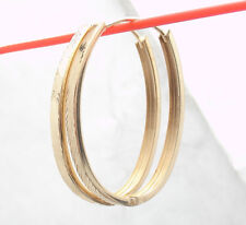 "1.75"" Technibond Diamond Cut Hugger Hoop Earrings 14K Yellow Gold Clad Silver"