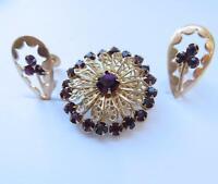 "Vintage Purple Rhinestone Gold Tone 1-1/4"" Brooch & 1"" Clip Earrings Set"