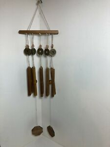 """Wind Chime Wood & Brass Chinese Style Coins 32"""""""