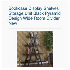 Bookcase Display Shelves Storage Unit Black Pyramid Design Wide Room Divider