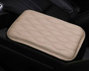 Leather Car Armrest Pad Auto Seat Storage Box Covers Protection Cushion Beige