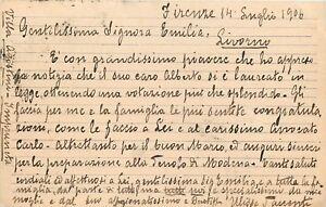 Autografo di Ulisse Saccenti, direttore del Teatro Niccolini - Firenze, 1906