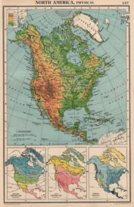 NORTH AMERICA PHYSICAL & CLIMATE. Temperature. Rainfall. BARTHOLOMEW 1944 map