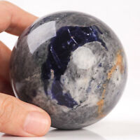 552g 73mm Large Natural Blue Sodalite Quartz Crystal Sphere Healing Ball Chakra