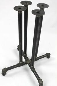"4 - Black Pipe Table Base ""DIY"" Parts Kit, 28"" Tall PUB Pedestal Table Frame Kit"