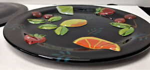 Fused Glass 9 inch Plates 3D Glass Fruit Unique No Markings Beautiful Gift Set