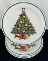 "4 Lynns Stoneware*CHRISTMAS TREE* 7 1/4"" DESSERT PLATES"