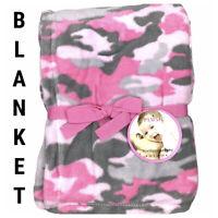 New Baby Toddler Kids Blanket Plush Fleece Camouflage Camo Pink Grey Gray 30x40