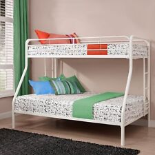 Bunk Beds Twin Over Full Size Metal Bed Frames White Safety Rails Kids Room New