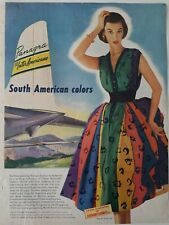 Vintage Panagra women's Everfast fabric South American colors fashion ad