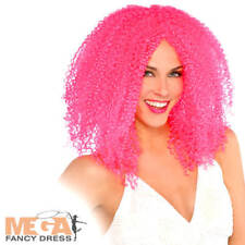 Pink Crimped Wig Womens Clown Halloween Circus Ladies Costume Adults Accessory