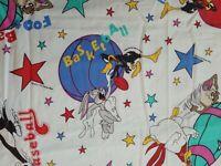 Vintage Looney Tunes Toddler Flat Sheet Sports Bug Bunny Daffy Taz 1993 44 x 56