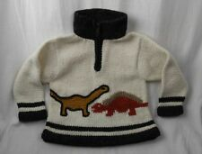 E.C.C. Ecuadorian Clothing Company Boys 4 3/4 Zip Sweater Dinosaurs