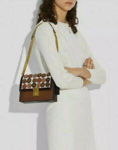 NWT Coach Hutton Shoulder Bag With Tea Rose Brass/Straw Chalk
