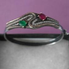 925 Silver Bracelet With Emerald - Ruby And Topaz Gems 6.5 x 6 Cm. Wide 8.4 Gr