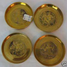 Lot 4 Vintage Brass Coasters Zodiac Signs Korea Pier 1 Gemini Pisces Scorpio