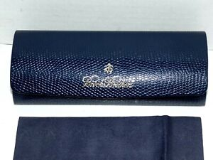 BROOKS BROTHERS Blue Eyeglass Case w/ BB Cleaning Cloth Reptile Embossed Perfect