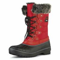 Women's Water-resistant Warm Faux Fur Lined Snow Boots Lace Up Zipper Mid Calf