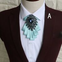 Men Bow Tie Rhinestone Flower Wide Necktie Wedding Party Shiny Fashion Gift Chic