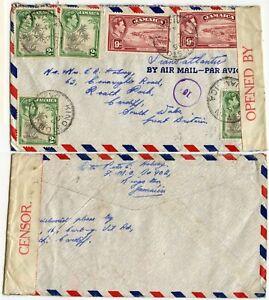 JAMAICA WW2 CANADA NAVAL FLEET MAIL OFFICE CENSORED 10 CIRCLED SHIP BUZZARD