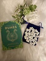 WHITE RESIN Rune Set  Elder Futhark and One Blank Rune with Rune Book