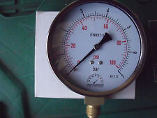 "Ashford Instruments Pressure Gauge 100mm x 3/8"" BSP Bottom Mount 0-7 Bar/PSI"