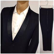 Vintage Tuxedo 42 R Slim Fit Black Satin Lapel Pin Striped 34 Pants 30 Inseam