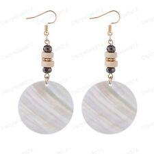 "BIG 3""long WHITE MOP SHELL disc EARRINGS gold fashion ethnic glass wood beads"