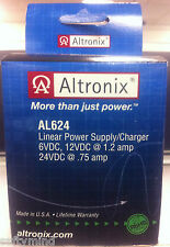 Brand New Altronix AL624 Linear Power Supply, Switch selectable 6, 12, 24VDC